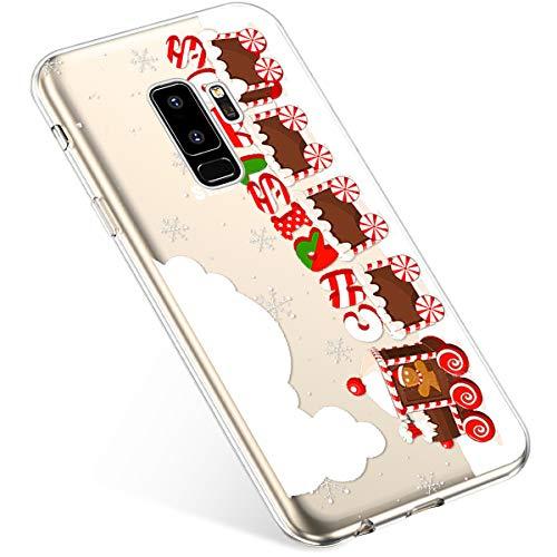 Uposao Kompatibel mit Handyhülle Weihnachten Galaxy S9 Plus TPU Silikon Schutzhülle Weich Transparent Kristall Klar Dünn Handyhülle Backcover TPU Bumper Case Handytasche,Zug