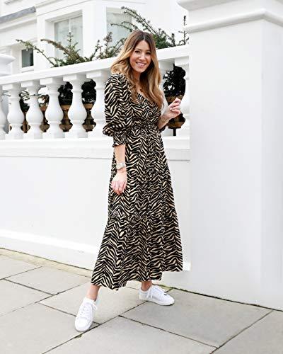 The Drop Robe Longue pour Femme, avec Encolure en V, Imprimé Zèbre, par @wearetwinset