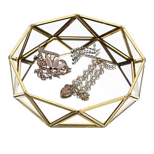 Sumnacon Plateau décoratif en métal et verre effet miroir - Organiseur de bijoux de bureau doré - Plateau prisma - Plaque de parfum...