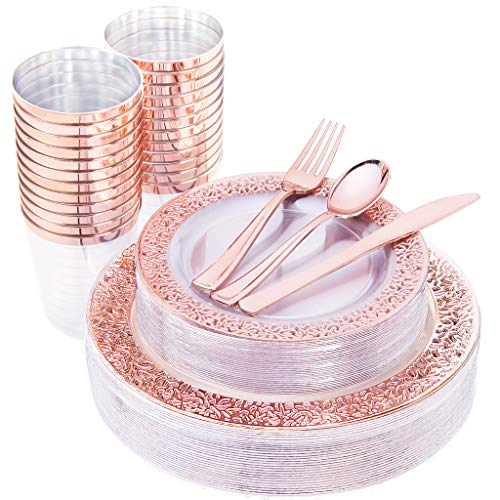 IOOOOO 150 Pcs Rose Gold Plastic Plates & Silverware & Disposable Cups, Laced Design Includes 25 Dinner Plates 10.25', 25 Dessert Plates 7.5', 25 Tumblers, 25 Forks, 25 Knives, 25 Spoons