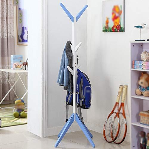 Jsmhh Perchero de Madera Maciza 150cm Perchero de Piso de Madera Perchero en Forma de árbol for niños, 6 Ganchos (Color : Blue)
