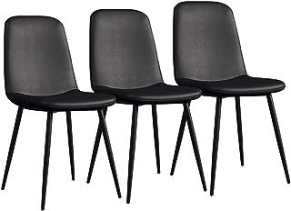 LSRRYD Conjunto de 3 Sillas de Comedor Moderno Sillas de Cocina Asiento Acolchado cómodo de Cuero PU con Patas de Metal turdy Silla de Oficina en casa Taburete de Bar (Color : Black)