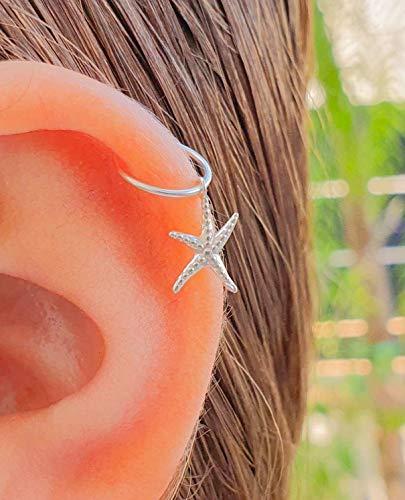 Silver SeaStar Cartilage Earring hoop 925 sterling silver Sea Star Earrings, seastar Helix piercing Earring