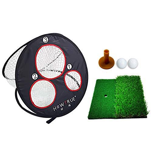 Sizet® Golf Training Set, zusammenklappbares Pop-up-Golfnetz, tragbares Golf-Chipping-Netz für den Garten im Innen- und Außenbereich (1 * Golfnetz, 1 * Golfmatte, 2 * Golfball)