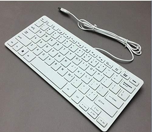 GeWu888 Teclado Mini Teclado con Cable Ultra-Delgada de Escritorio del Teclado del Juego para la Oficina en casa (Color : White)