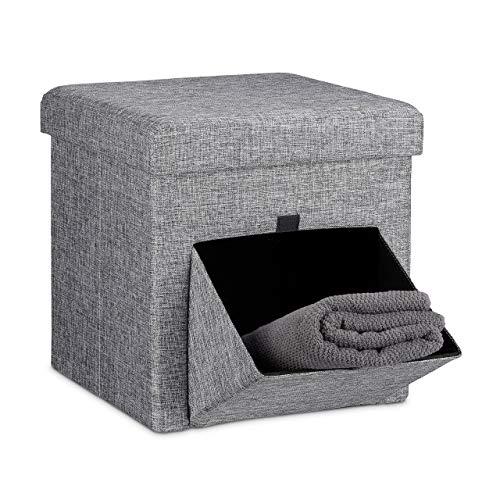 Relaxdays Tabouret de rangement carré pliant en lin couvercle amovible avec tiroir bascule pivotant pouf stockage cube HxlxP: 38 x 38 x 38 cm repose-pieds, gris