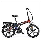 Gpzj Bicicletas Plegables eléctricas de 20 Pulgadas Ciclismo 250 W 48 V Ebike 7 velocidades Una Rueda Bicicleta Plegable de Doble suspensión (Marco de Acero de Alto Carbono)
