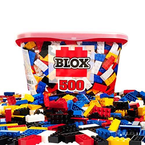 Simba 104114201 - Blox 500 Bausteine für Kinder ab 3 Jahren, 8er Steinebox, ohne Grundplatte, vollkompatibel, farblich gemischt, schwarz, rot, weiß, gelb, blau