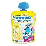 Nestlé Mio Merenda Frutta e Yogurt da Spremere Banana senza Glutine da 6 Mesi, 16 pezzi da 90 ml (1440 ml)