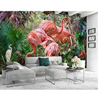 xueshao カスタム壁紙3Dファッションモダンミニマリスト手描き熱帯植物フラミンゴTvの背景の壁の壁紙-250X175Cm