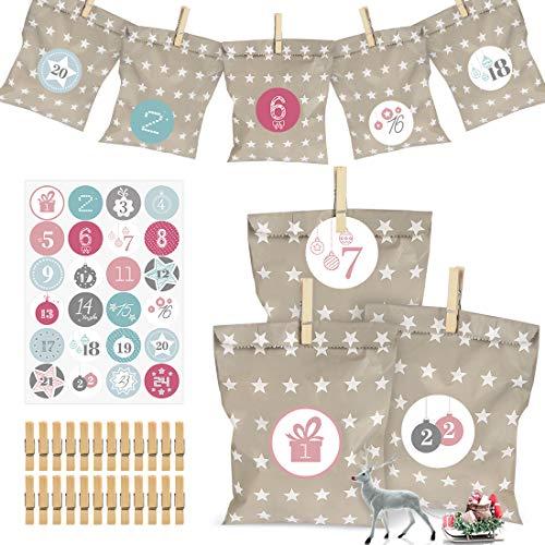 Adventskalender zum Befüllen,Weihnachten Geschenksäckchen, Papier-Advent Calendar mit 24 Zahlenaufklebern für Weihnachten zum Basteln DIY Adventskalender Bastelset