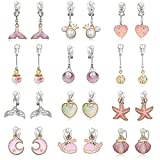 PinkSheep Clip On Earrings for Little Girls, Mermaid Earrings Shell Earrings Pearl Earrings for Kids, 12 Pairs, Best Gift