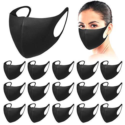 Nother 16 piezas para cara reutilizables y lavables, unisex, tejido de seda de hielo, color negro