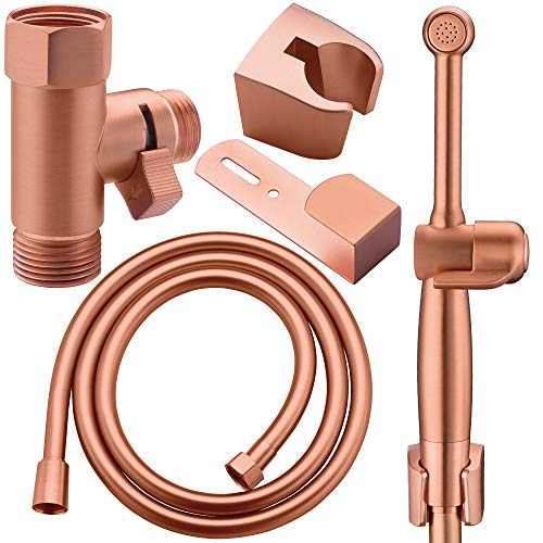 Hand Held Bidet Sprayer for Toilet,Handheld Cloth Diaper Sprayer for Toilet Water Sprayer Bathroom Jet Spray Vibrant Rose Gold-Solid Brass-Adjustable Pressure Control-3 Years Warranty
