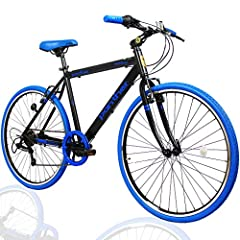 PANTHER (パンサー) クロスバイク 軽量アルミ製フレーム 外装7段変速 適応身長160cm以上 フロントハブクイックリリース搭載 アジャスタブルステム 厚手クッションサドル Vブレーキ コスパ最強モデル メーカー1年間保証 (Black×Blue)