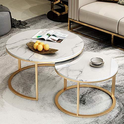 Home D & eacute; cor Möbel Wohnzimmer Lounge Cocktail Tisch Set |Runder Nesting Beistelltisch |2-teilige stapelbare elegante Couchtische |Gold Metallrahmen & Marmor Tischplatte Wohnzimmer oder Loun