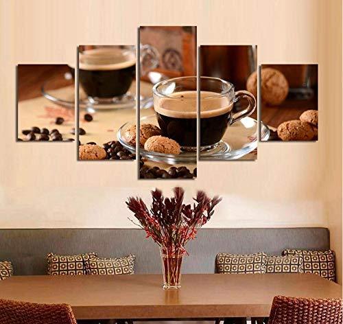 Tacbz muurkunst HD bedrukt de decoratie van het huis, 5 delen, café, linnen, drankschilderij, zacht, modulair, voor restaurant, foto's, kunst, schilderkunst