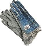 ネコポスで発送 ハリスツイード 手袋 レディース ラビットファー スマホ対応 グローブ : ブルー