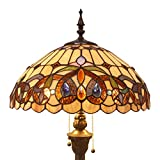 Tiffany Style Floor Standing Lamp W16H64 Inch Tall Stained Glass Serenity Victorian Lampshade 2E26 Antique Reading Light Resin Base S021 WERFACTORY Lamps Bedroom Living Room Bedside Table Lover Gifts