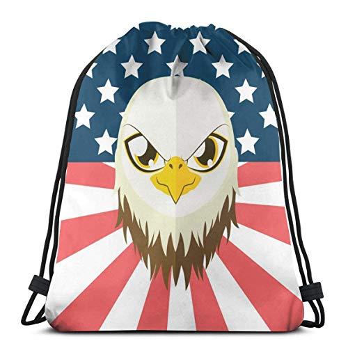Kordelzug Rucksack Vintage amerikanische Flagge Adler Leinwand Bulk Sackpack für Männer Frauen String Sports Gym Bag