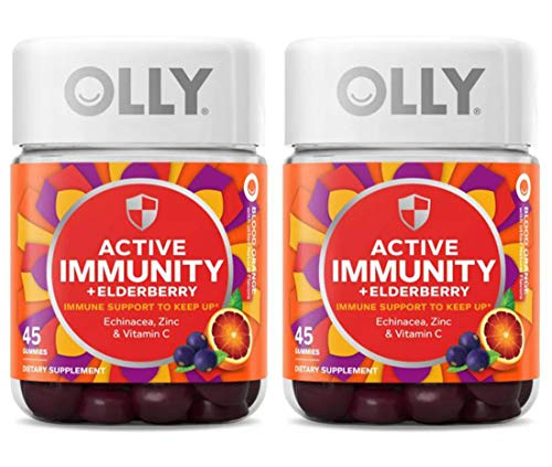 Olly Active Immunity + Elderberry Gummy Vitamins! 45 Gummies Orange Flavor! Blend Of Echinacea, Vitamin C & Zinc! Keep Your Immune System Running Strong! Choose From 1 Pack, 2 Pack Or 3 Pack! (2 Pack)