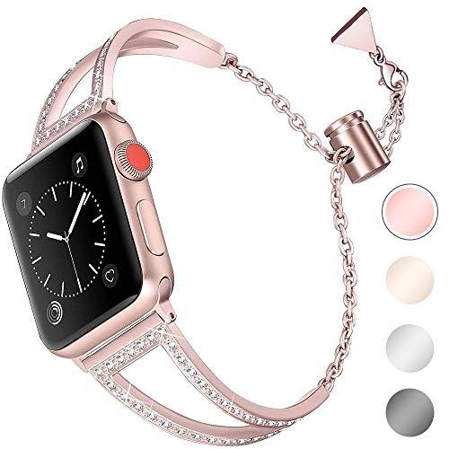 Aottom Compatible pour Bracelet Apple Watch 5 40mm Or Rose,Bracelet Acier Apple Watch 38mm Bracelet iWatch Series 4 40mm Bande Remplacement de Bracelet Apple Watch 3 Band pour Apple Watch 38mm/40mm