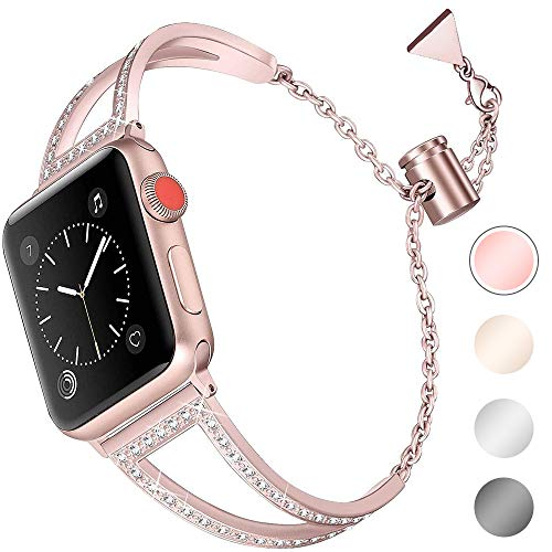 For Apple Watch Strap 40mm 38mm for Women, Aottom iWatch Strap Series 6/5/SE Stainless Steel Glitter Jewelry Metal Bracelet Wristband Replacement Strap for Apple Watch SE Series 6/5/4/3/2/1 38mm 40mm