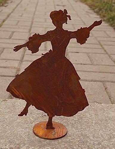Dekostüberl Rostalgie Edelrost Dame tanzend 27x19,5cm auf Platte Barock Figur Tänzerin
