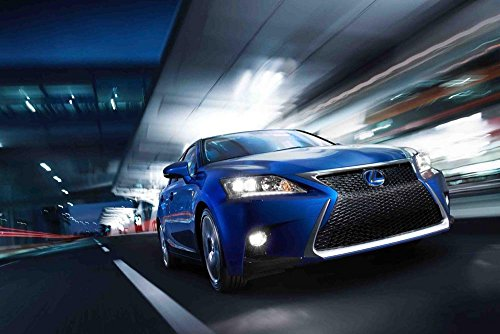 "Lexus CT 200h (2014) Car Art Poster Print on 10 mil Archival Satin Paper Blue Front Side Motion View 36""x24"""