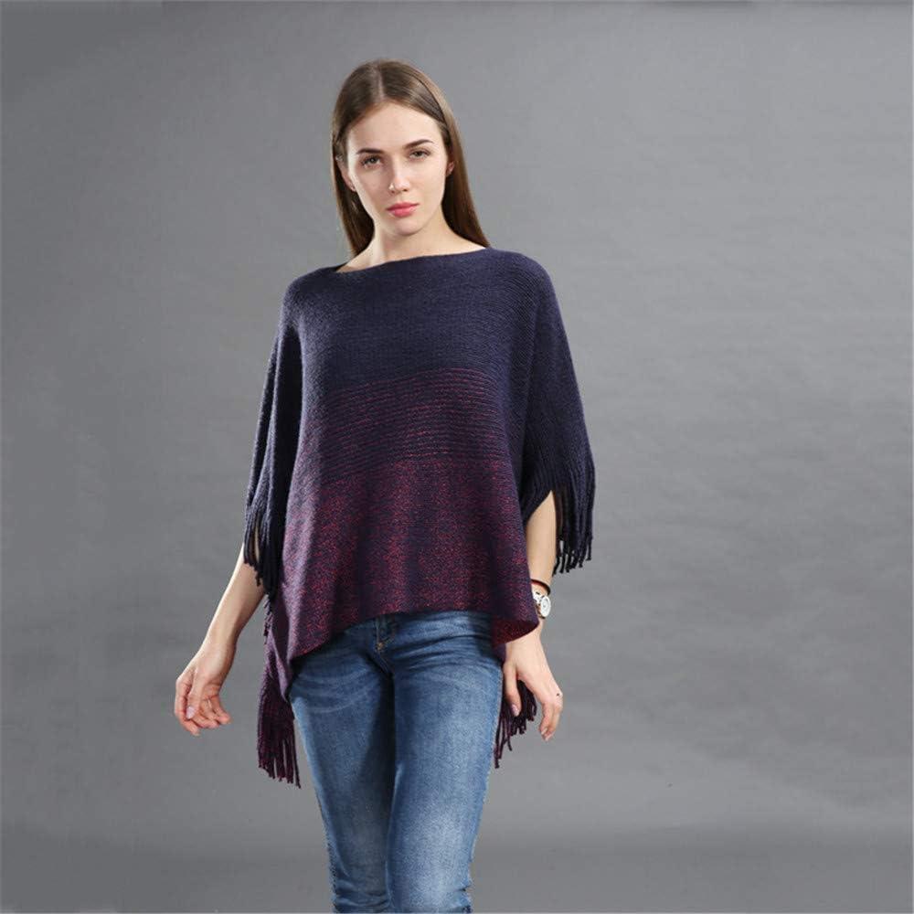 Teerwere Fall Warm Scarf Ladies Tassel Knitted Shawl Poncho Cloak Warm Fashion Cozy Warm for Winter (Color : Dark Blue)