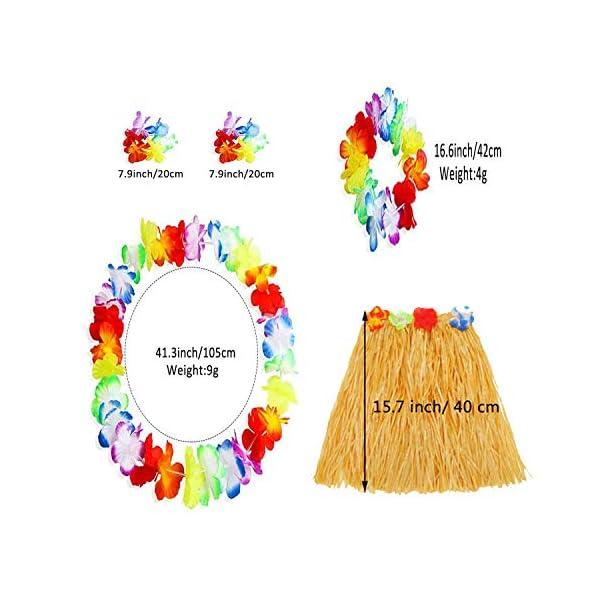 2 Sets Falda de Hierba Hawaiana con Elástica Flores Disfraces Guirnalda Diadema Pulsera Collar para Niñas Mujer Fiesta…