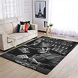 COMBON Shop Duradera alfombra de suelo con diseño de calavera, para interiores, color blanco, 50 x 80 cm