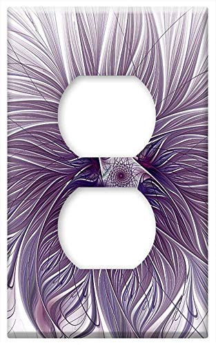 Switch Plate Outlet Cover - Purple Lavender Wisps White Background Fractal
