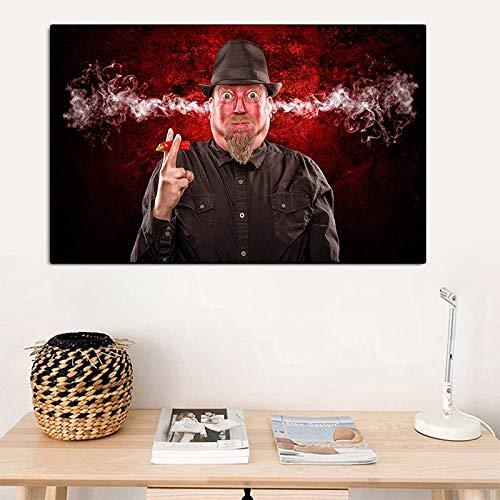 Frameloze portret schilderij HD portret schilderij man eet peper oor rook canvas afgedrukt muurschildering print poster decoratie woonkamer <> 50x70cm