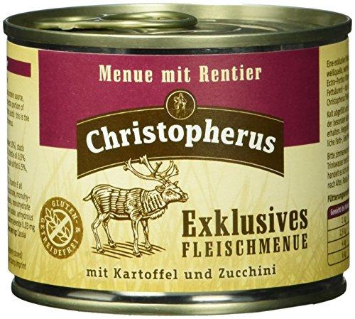 Christopherus Alleinfutter für Hunde, Nassfutter, Gluten- und getreidefrei, Rentier/ Kartoffel/ Zucchini, Exklusives Fleischmenü 6 x 200 g