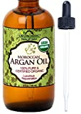 #1 Organic Moroccan Argan Oil ★ USDA Certified Organic,100% Pure & Natural ★ Cold Pressed Virgin, Unrefined ★ Amber Glass Bottle w/ Glass Eye Dropper for Easy Application ★ US Organic ★ (4 oz (120ml)) by US Organic