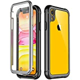 Temdan iPhone XR Case 2018, Built in Screen Protector Full Body Protect Clear Bumper Case Support Wireless Charging, Heavy Duty Rugged Dropproof Case for iPhone XR 2018 (6.1inch)