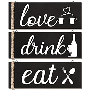 Jetec 3 Pieces Wood Home Sign Rustic Wooden Kitchen Wall Decor Eat Drink Love Wood Sign with Hanging Hole for Home Kitchen Dining Living Room Bar Cafe Decoration  Dark Brown
