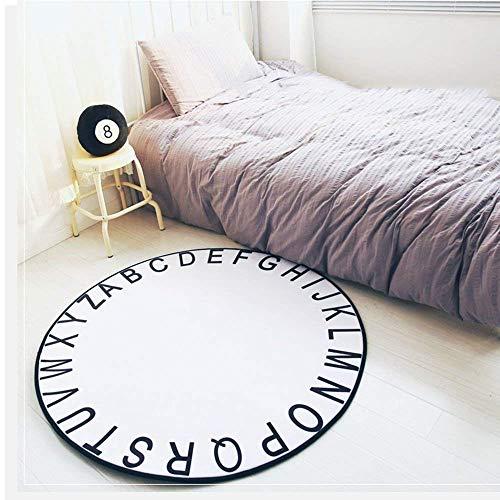 BAIBAI Teppich Schwarz Weiß rund Elastizität Kind 40Cm 80Cm 120Cm 150Cm Langlebig,Durchmesser 120 cm,Weiß