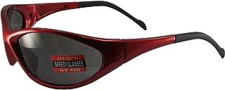 Global Vision Reflex Padded Motorcycle Safety Sunglasses Red Frame Smoke Lens ANSI Z87.1