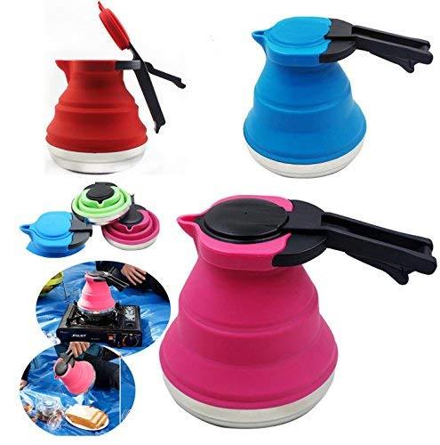 Hervidor de agua, portátil, plegable, de silicona, hervidor, ideal para senderismo, camping e interiores; color enviado al azar.