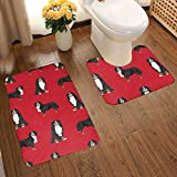N/D Bernese Mountain Dog Pet Bathroom Antiskid Pad Set 2 Piece Bath Mat,Water Absorption Contour,Toilet Lid Cover.