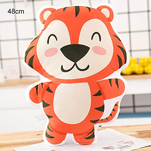 hokkk 42-55cm Animal Shaped Pillows Plush Stuffed Cartoon Pillow Kids Throw Pillow Owl Rabbit Elephant Leo Tiger Bear Gift 48CM E