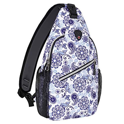 MOSISO Sling Backpack,Travel Hiking Daypack Pattern Rope Crossbody Shoulder Bag, Blue & White Porcelain