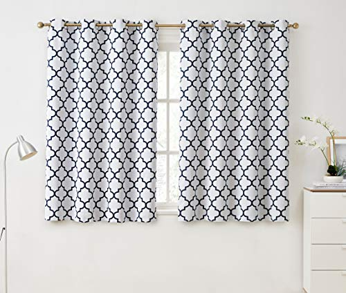 HLC.ME Lattice Print Decorative Blackout Thermal Insulated Privacy Room Darkening Grommet Window Drapes Curtain Panels for Bedroom - Platinum White & Navy Blue - Set of 2-52 x 72 Inch Length