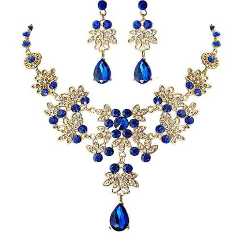 XIGAWAY Joyería azul de la ropa de la boda del triple del pelo de la corona de