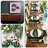 SUNANFBEST 36 Stück Tropische Blätter, Dschungel Deko Palmenblätter Dschungel Strand Thema Party Hochzeit Dekorationen Tischdekoration - 6