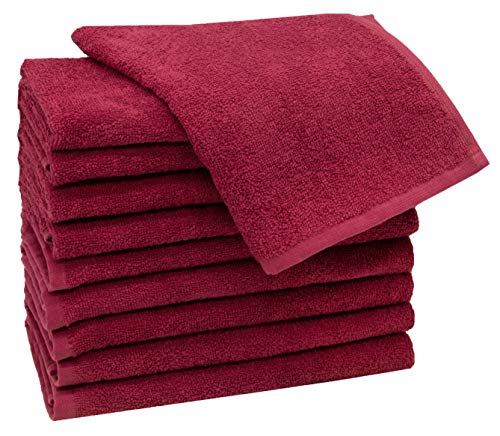 ZOLLNER 10 Toallas de tocador de algodón 100%, 30x50 cm, Rojo