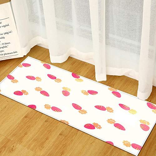 XIAOZHANG Alfombras Lavables Franela Suave Rábano Rosado Simple Alfombrilla Antibacteriana Alfombras De Cocina Confort 60X90Cm