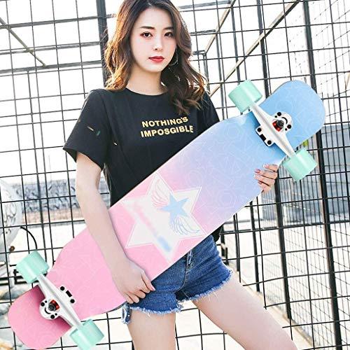 ZXCMNB Roller Ahorn Longboard Junge Mädchen Pinsel Street Dance Board Anfänger Erwachsene Teen Allrad Skateboard Skateboards (Color : B)